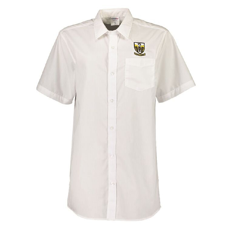 Schooltex Tikipunga High Short Sleeve Shirt with Embroidery, White, hi-res