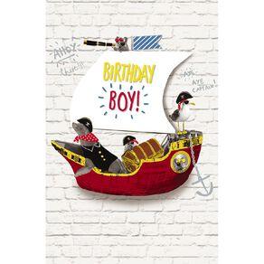 John Sands Juvenile Card Birthday Boy Animals In Ship