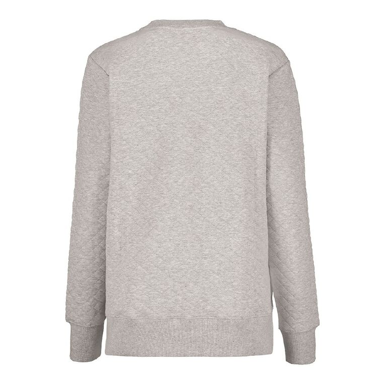 H&H Women's Quilted Crew Neck, Grey Marle, hi-res