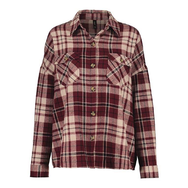 H&H Women's Pocket Flannel Shirt, Red Dark, hi-res