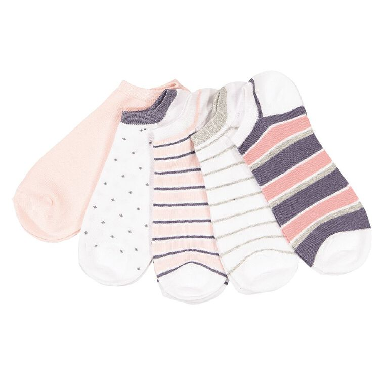 H&H Women's Patterned No Show Socks 5 Pack, White, hi-res