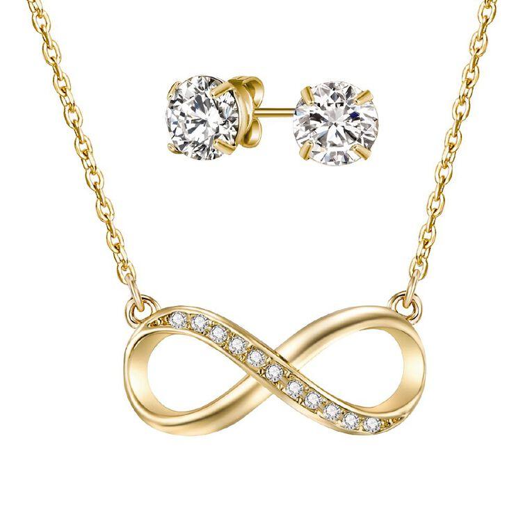 Mestige Gold Plated Swarovski Crystal Infinity Necklace & Earrings Set, , hi-res
