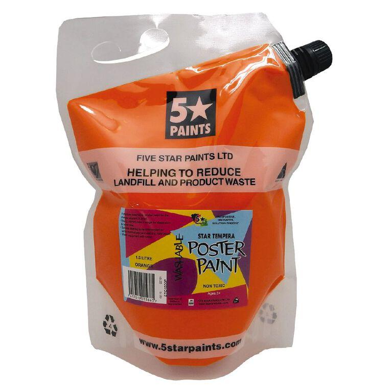 Fivestar Tempera Poster Paint Orange 1.5 litre Pouch, , hi-res