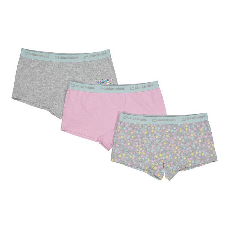 H&H Girls' Shortie Briefs 3 Pack, Grey Light, hi-res