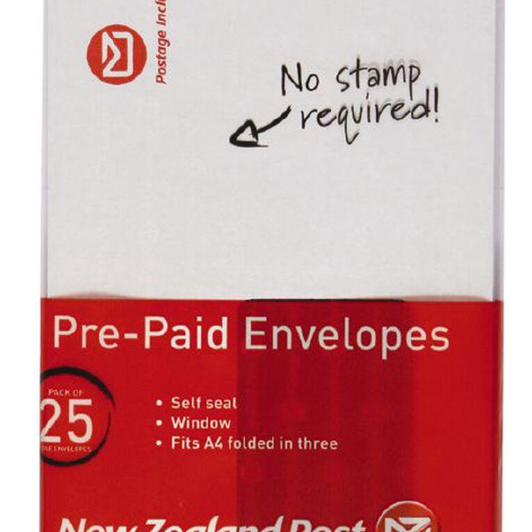 New Zealand Post DLE Envelope Prepaid Window 25 Pack, , hi-res image number null