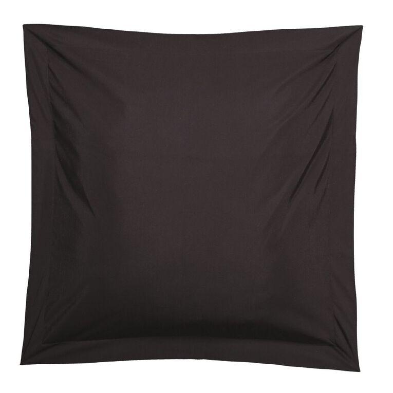 Living & Co Pillowcase Euro Cotton Rich 270TC Black 65cm x 65cm, Black, hi-res