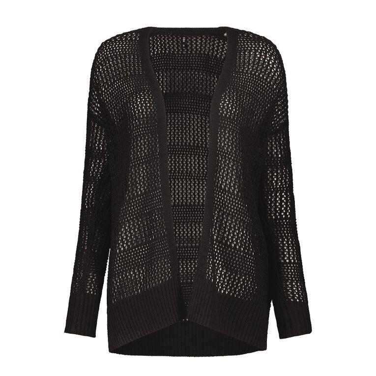 H&H Women's Crochet Cardi, Black, hi-res image number null
