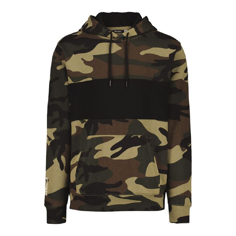 Garage Men's Hooded Spliced Camo Hooded Sweatshirt, Brown, hi-res