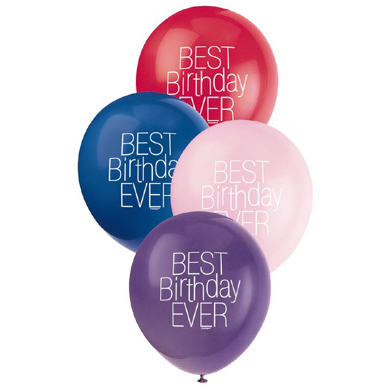 Unique Best Birthday Ever Balloons 30cm Assorted 8 Pack, , hi-res