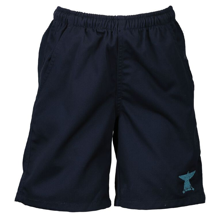 Schooltex Rowandale Drill Rugger Shorts with Embroidery, Navy, hi-res
