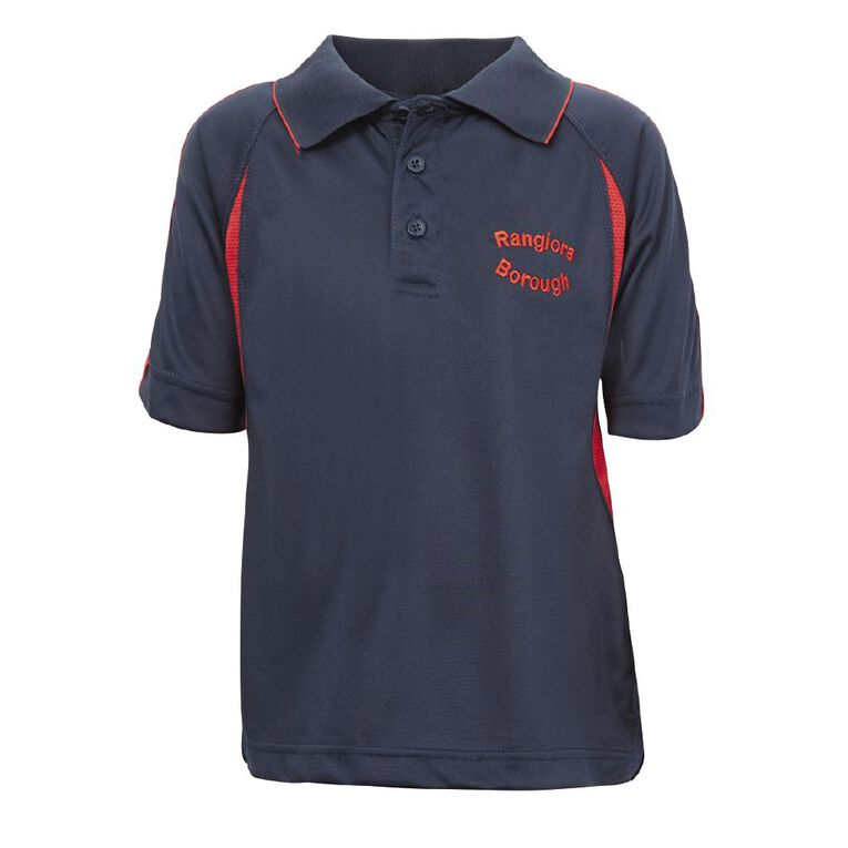 Schooltex Rangiora Borough School Short Sleeve Polo with Embroidery, Navy/Red, hi-res
