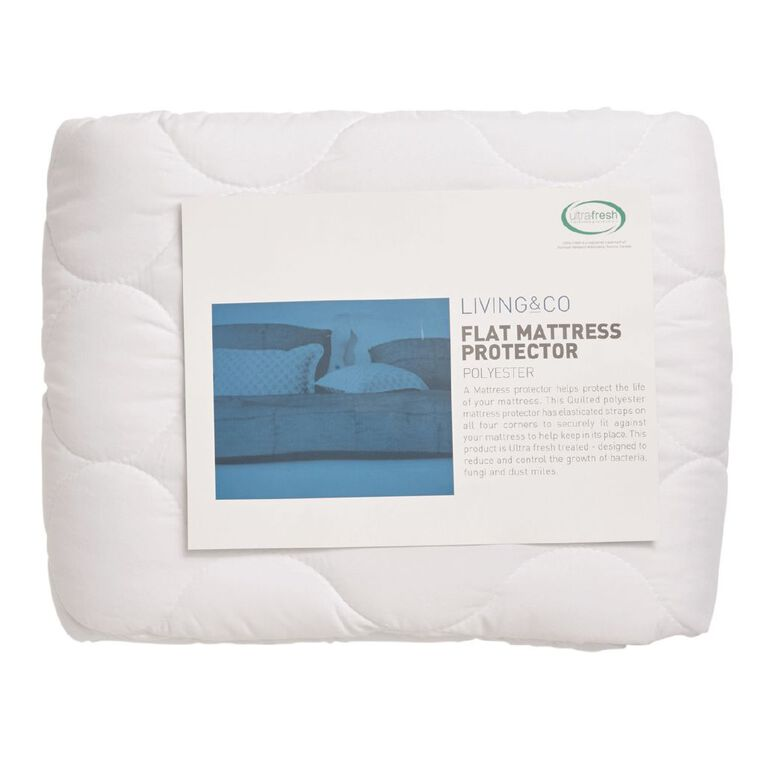Living & Co Mattress Protector Mircrofibre Flat White Queen, White, hi-res