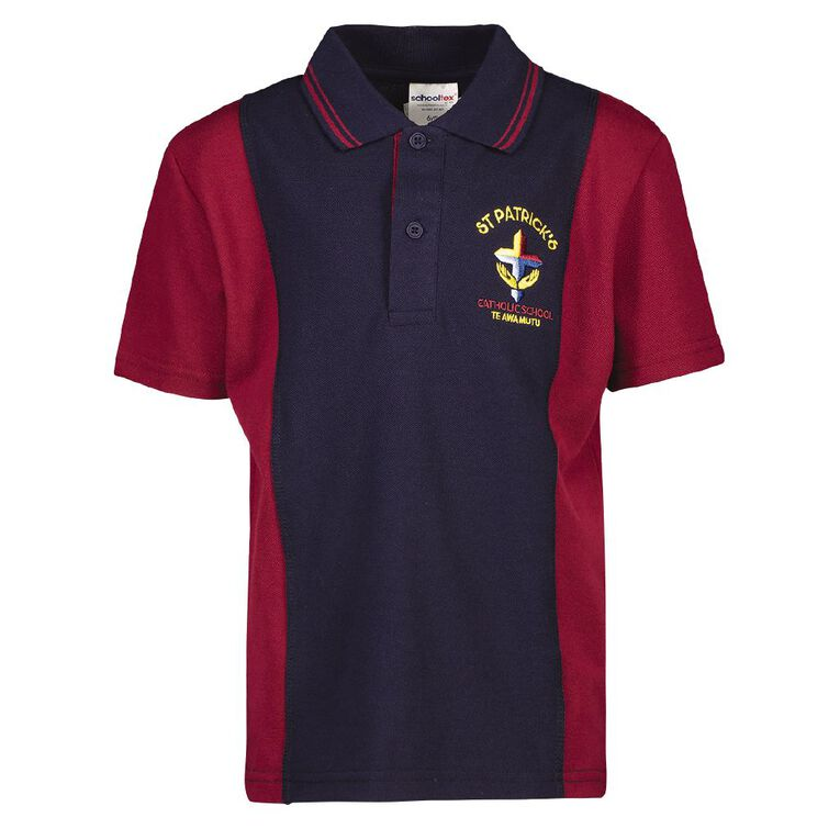 Schooltex St Patricks Te Awamutu New Short Sleeve Polo with Embroidery, NAV/MROON, hi-res