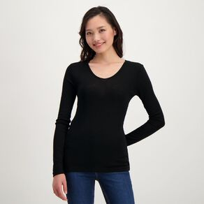 H&H Women's Merino Blend V Neck Top