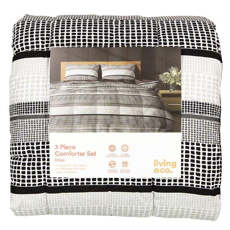 Living & Co Comforter Set 3 Piece Stripe Grey Queen, Grey, hi-res