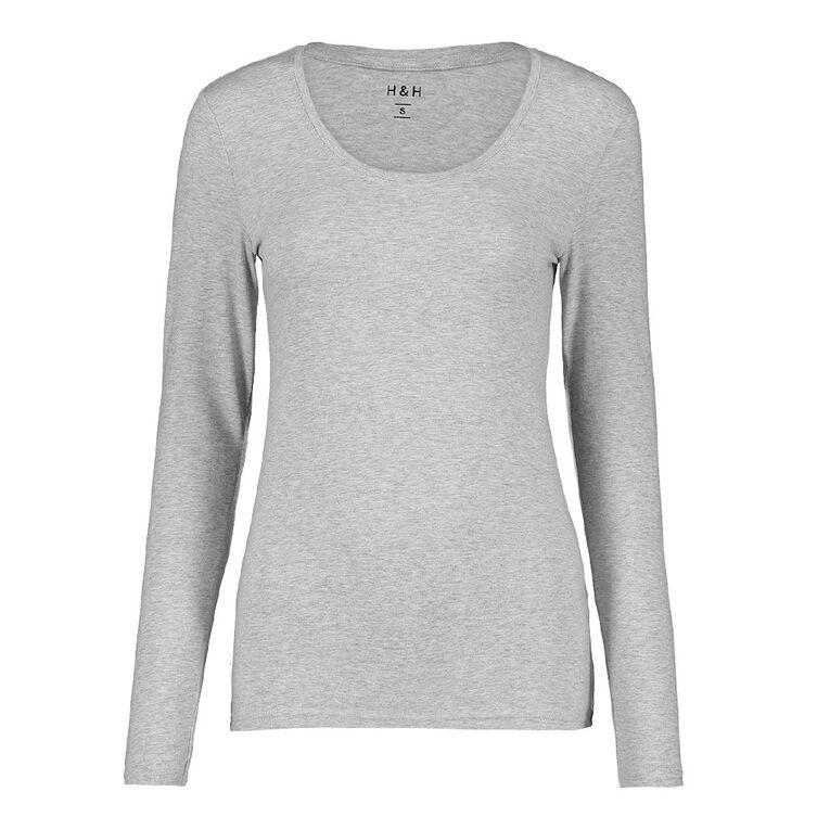 H&H Long Sleeve Scoop Neck Top, Grey Marle, hi-res