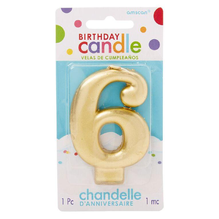 Candle Metallic Numeral #6 Gold, , hi-res