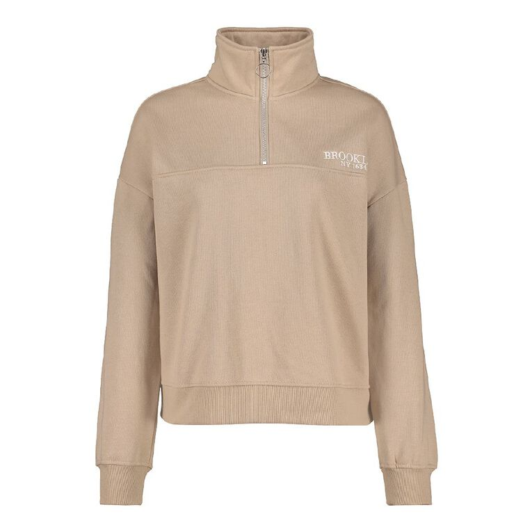 H&H Women's 1/4 Zip Pullover Sweat, Brown Light, hi-res