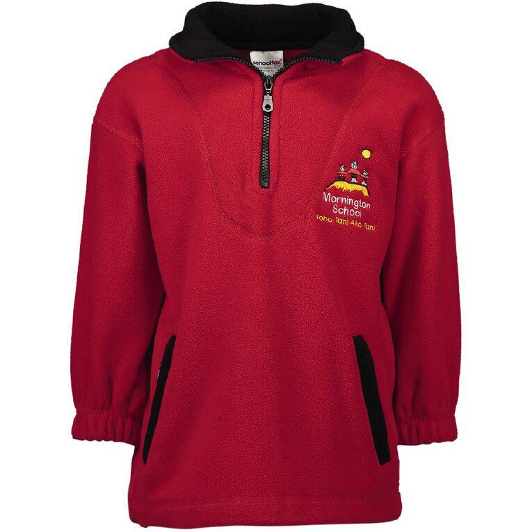 Schooltex Mornington Polar Fleece Top with Embroidery, Red/Black, hi-res