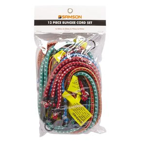 Mako Bungee Cords with Steel Hooks Set 12 Piece
