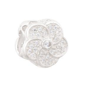 Ane Si Dora Sterling Silver Flower Swirl CZ Charm