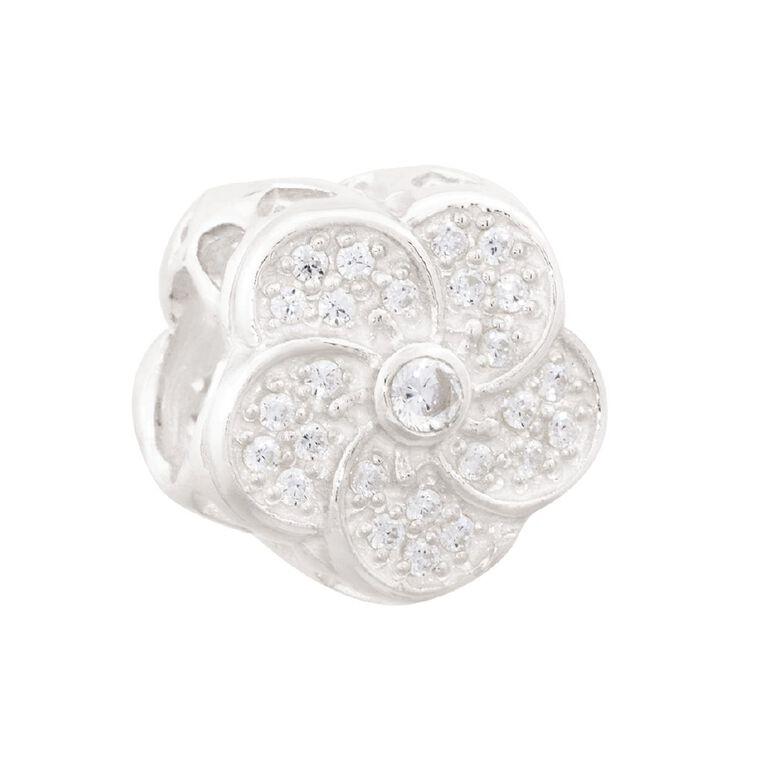 Ane Si Dora Sterling Silver Flower Swirl CZ Charm, , hi-res