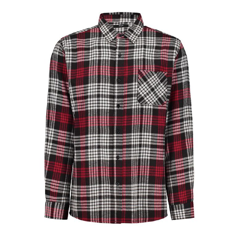 H&H Long Sleeve Flannelette Shirt, Red, hi-res image number null