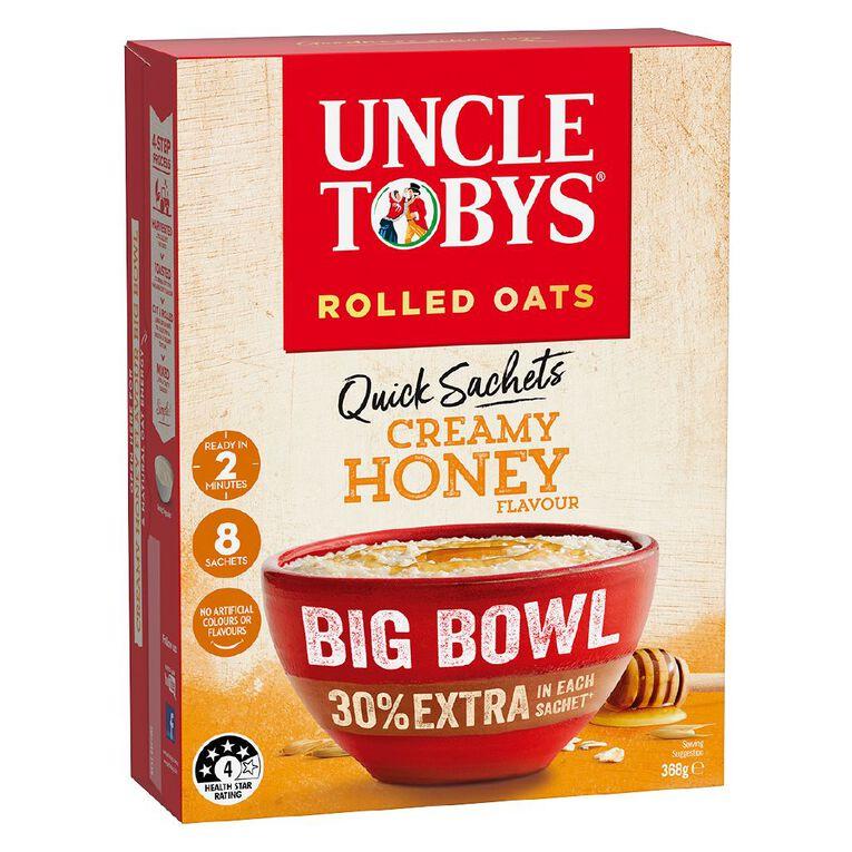 Uncle Tobys Quick Oats Creamy Honey Big Bowl 368g, , hi-res