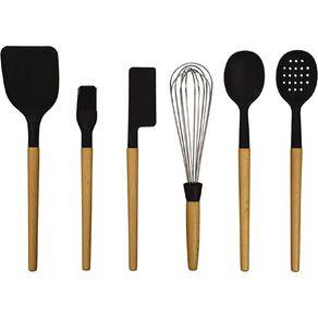 Living & Co Wooden Utensils Set Black 6 Pack