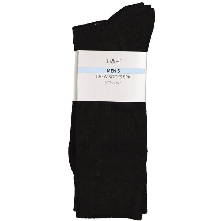 H&H Men's Crew Socks 5 Pack, Black, hi-res
