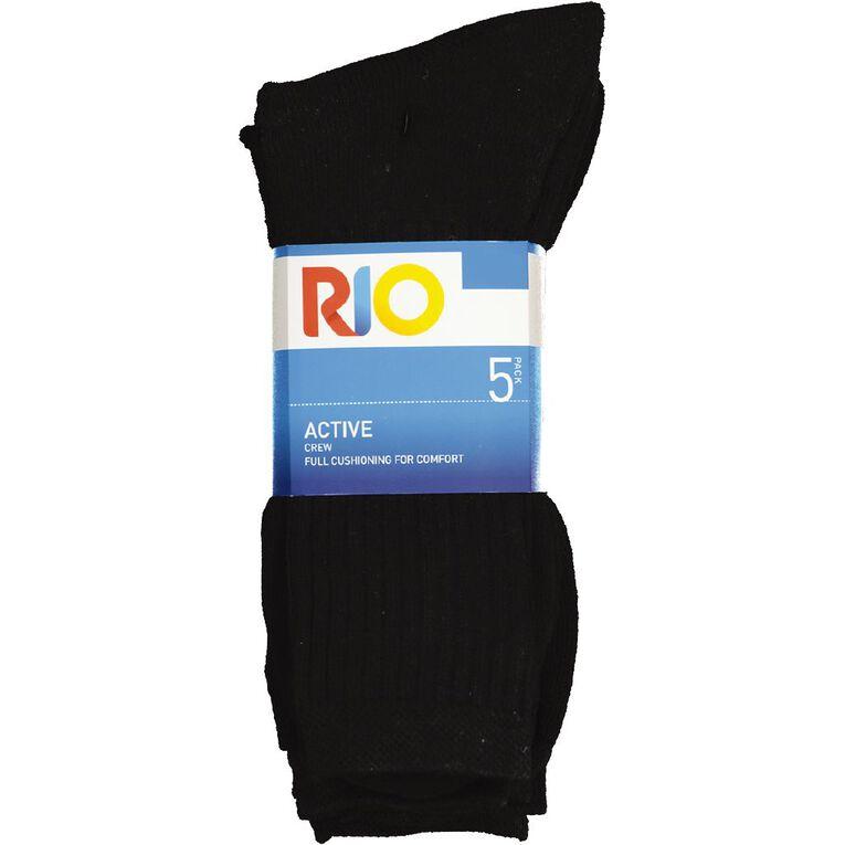 Rio Men's Active Sport Crew Socks 5 Pack, Black, hi-res