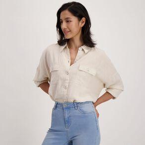 H&H Women's Linen Blend Twin Pocket Shirt