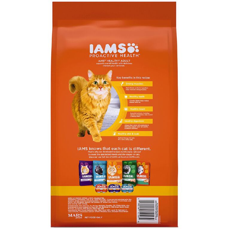 Iams Proactive Health Adult Dry Cat Food with Chicken 1.59kg Bag, , hi-res