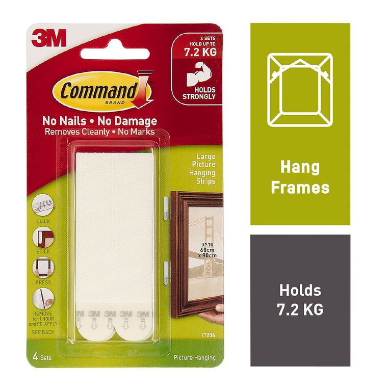 Command Picture Hanging Strips 4 Pack White Large, , hi-res