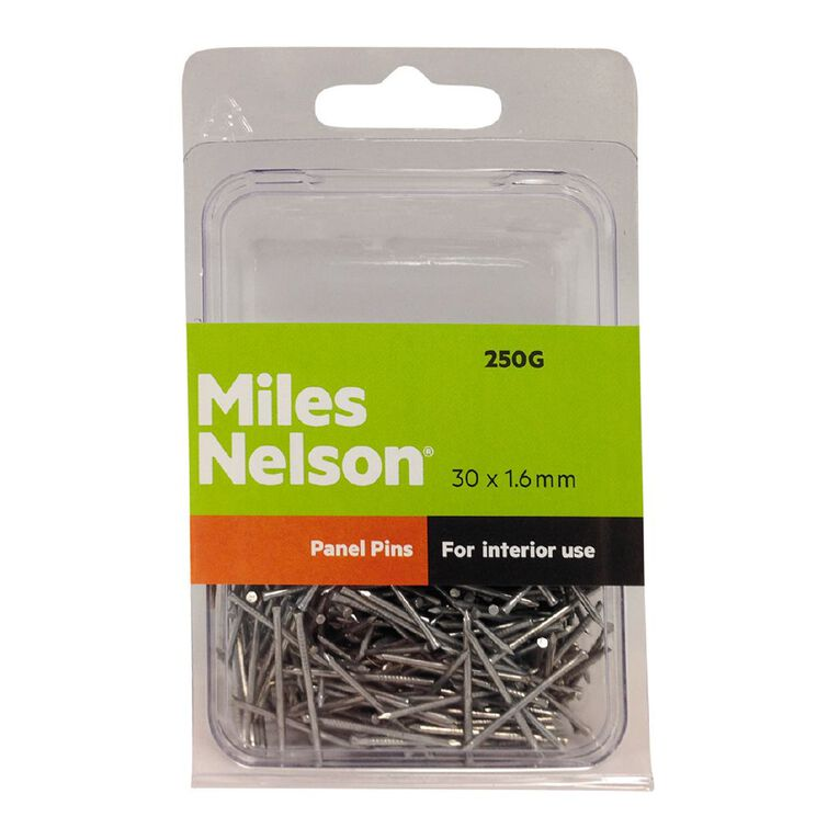 Miles Nelson Panel Pin Nails 30mm x 1.60mm 250g, , hi-res
