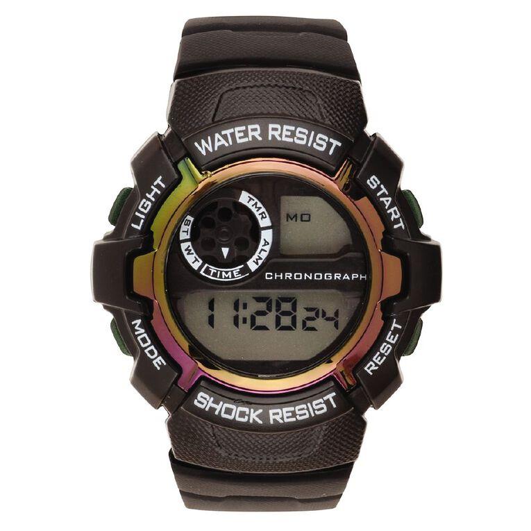 Active Intent Women's Sports Digital Watch Black Irridescent, , hi-res