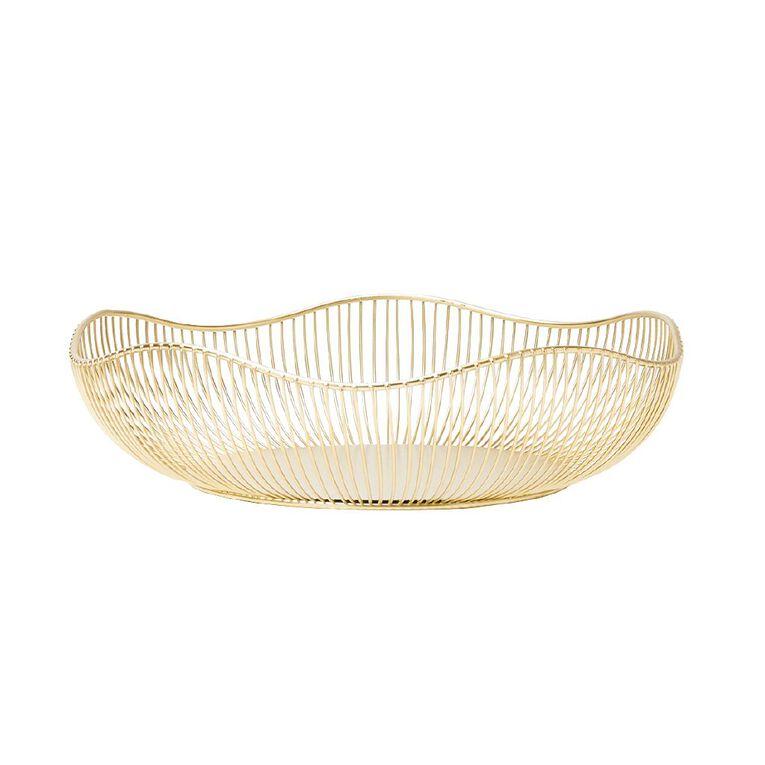 Living & Co Wire Basket Gold 32cm x 32cm x 9cm, Gold, hi-res