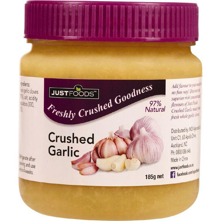 Just Foods Just Garlic 97% Pure & Natural Crushed Garlic 185g, , hi-res