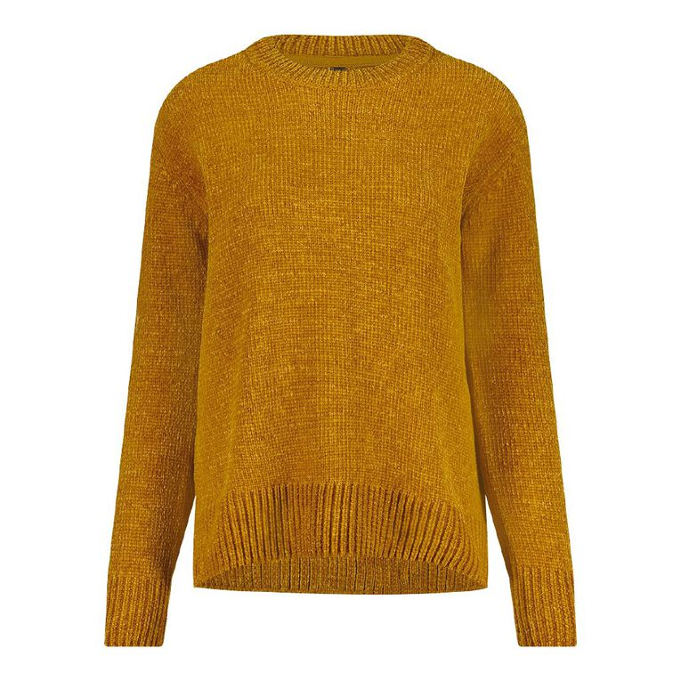H&H Women's Chenille Step Hem Jumper, Brown Mid, hi-res