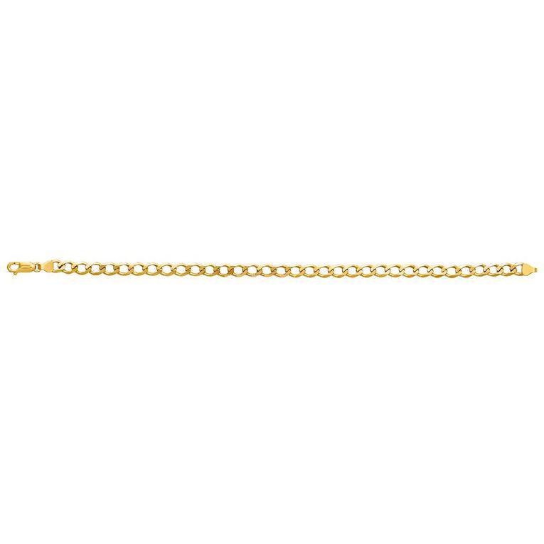 9ct Gold Bevelled Curb Bracelet 21cm, , hi-res