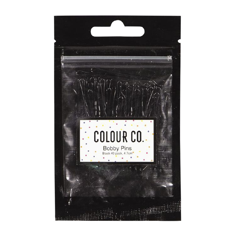 Colour Co. Hair Bobby Pins Black 4.7cm 40 Pack, , hi-res