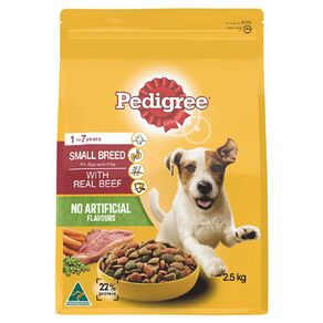 Pedigree Small Breed Adult Dry Dog Food With Real Beef 2.5kg Bag