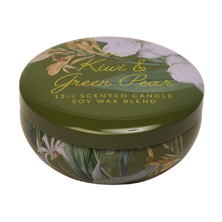Living & Co Kiwiana Kiwi & Green Pear Tin Candle Green 13oz, Green, hi-res