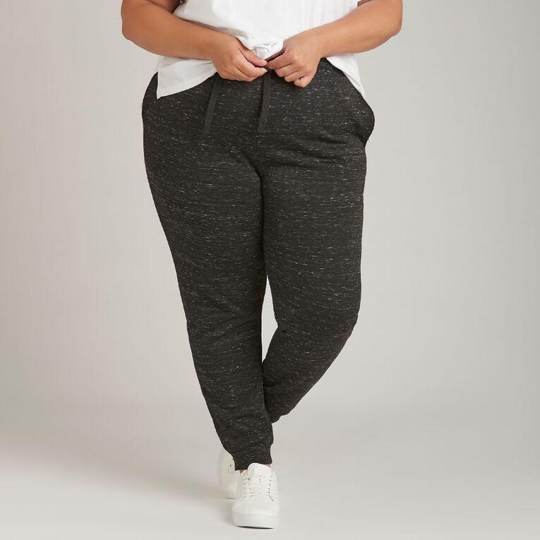 H&H Plus Women's Plus Rib Cuff Trackpants, Black, hi-res
