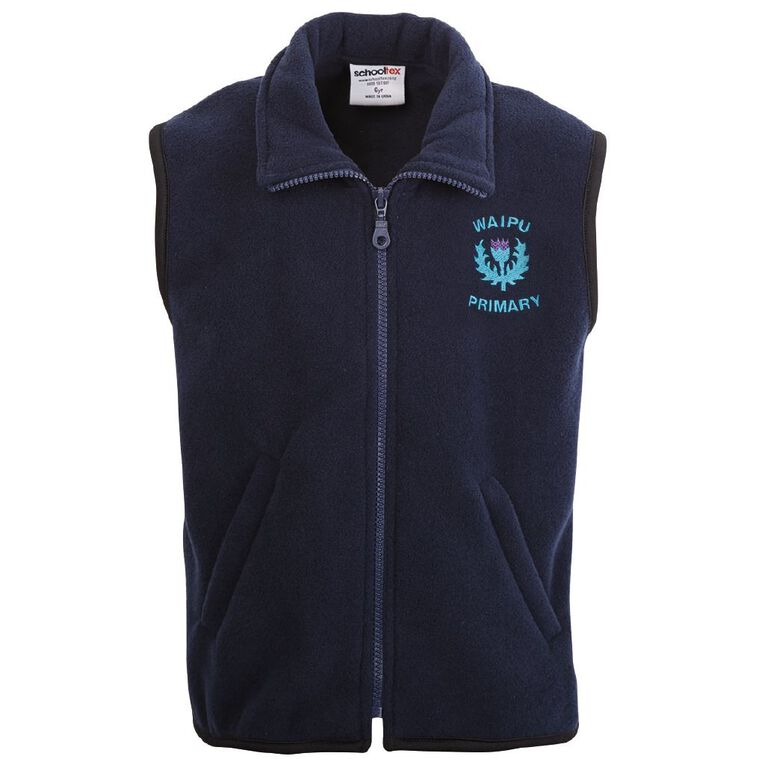 Schooltex Waipu School Polar Fleece Vest with Embroidery, Navy, hi-res