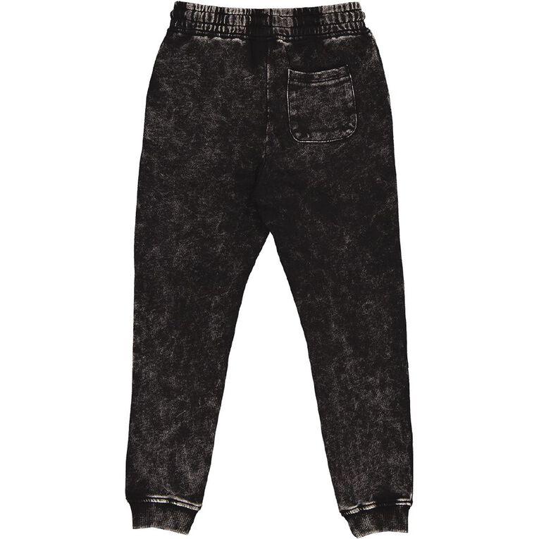 Young Original Acid Wash Trackpants, Black, hi-res
