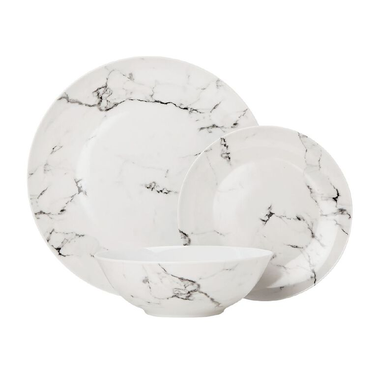 Living & Co Grey Marble Dinnerset Grey 12 Piece, , hi-res