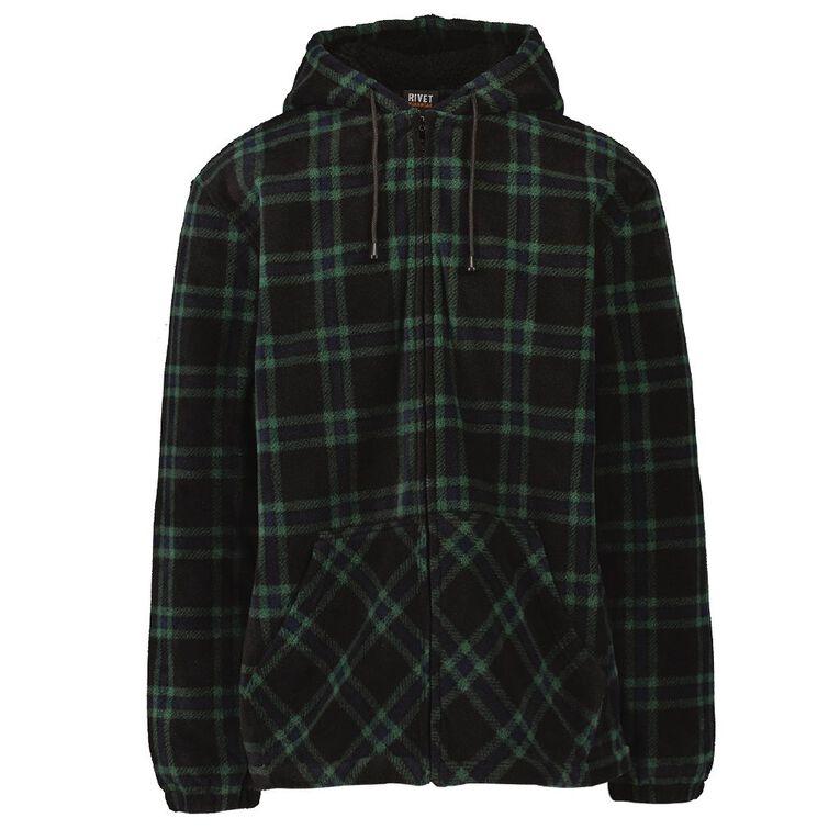 Rivet Sherpa Hoodie, Green Dark, hi-res