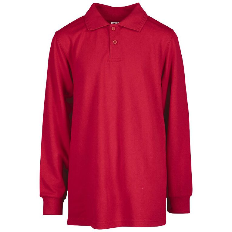 Schooltex Kids' Long Sleeve Polo, Red, hi-res