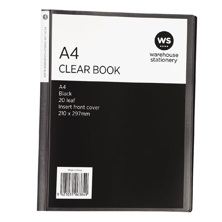 WS Clear Book Overlay 20 Leaf Black A4, , hi-res